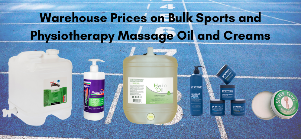bulk sports massage therapy and physiotherapy products, bulk massage oil, warehouse massage oil, massage creams, massage lotions, best buy for massage oils for sports